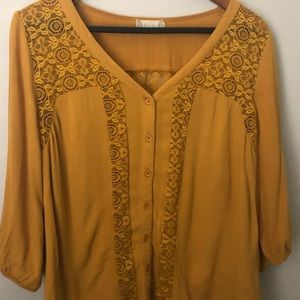 Altar'd State Mustard Yellow Lace Blouse - Small